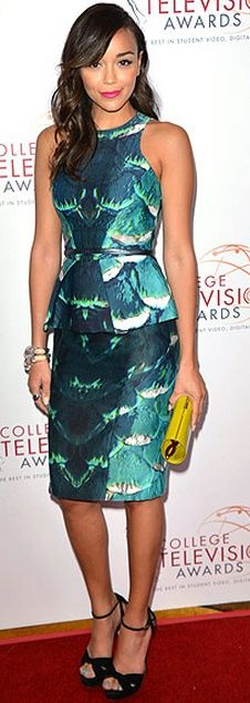 Who made Ashley Madekwe's green print peplum dress and clutch handbag that she wore in Los Angeles? Dress – Monique Lhuillier  Purse – Jimmy Choo