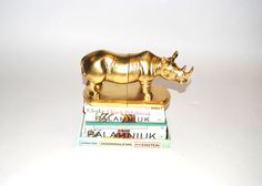 White Faux Taxidermy - The Rhino Bookends - Gold Home Decor - Office Library Decor - Book Storage