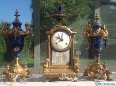 Gebruikt: mooie blauwe porseleine klok,imperial (Klokken & Barometers) - Te koop in Wingene