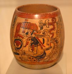 Campeche Maya Vase    an ancient painted ceramic vase from the Maya of Campeche Mexico. Art Museum of St Louis