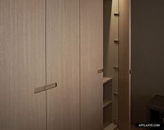 Complete interior's redesign of a shell newly-built apartment at a fantastic location in Duinbergen. In this home the spaces have been utilized optimally. Wardrobe Closet, Built In Wardrobe, Walk In Closet, Joinery Details, Veneer Panels, Wardrobe Design, Closet Designs, Closet Storage, Modern Bedroom