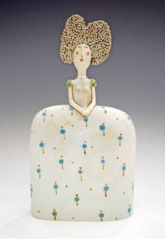 Lady, Blue Spotted Dress