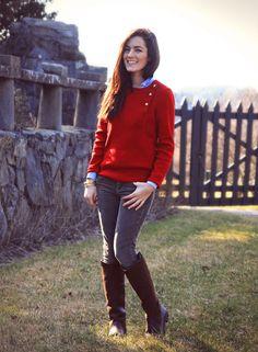 Pants: Vintage Matchstick Cords J.Crew.  Sweater:  Saint James Timaru.  Gold Turk Head Bracelet:  Pink Pineapple.  Boots:  Dubarry Clare. Worn by Sarah Vickers via Classy Girls Wear Pearls