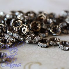 Vintage Patina Brass Czech Crystal Rhinestone Rondelle Spacers 8mm - Straight Edge - Channel Set - 20 pcs