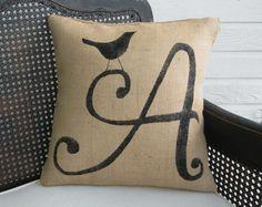 Bird Letter Custom Monogram Pillow  - Burlap Feed Sack Pillow