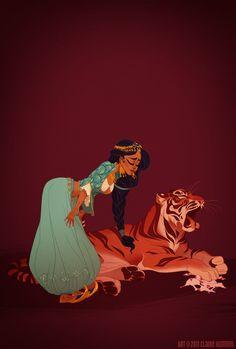 Jasmine ® Claire Hummel http://garotasgeeks.com/wordpress/2013/05/16/princesas-da-disney-historicas/