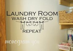 Laundry Vinyl Wall Decal 'Laundry Room Wash Dry Fold Repeat' on Etsy, $12.95