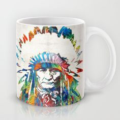 Native American Art - Chief - By Sharon Cummings Mug by Sharon Cummings - $15.00