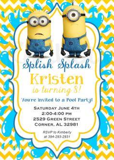 Girl Minions pool party printable invitation Mi Morusa