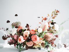 gorgeous lush and modern wedding floral centerpiece in jeweled berry tones September Wedding Flowers, Purple Wedding Flowers, Rustic Wedding Flowers, Flower Bouquet Wedding, Floral Wedding, Bridal Bouquets, Bday Flowers, Purple Bouquets, Church Flowers