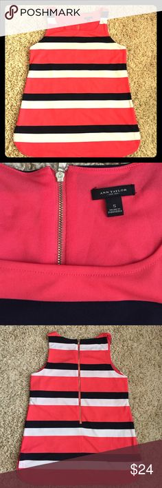 """Ann Taylor top Beautiful navy, coral and white striped Ann Taylor tank with exposed gold zipper in back. Size small. 26 1/2"""" long. Ann Taylor Tops Tank Tops"""