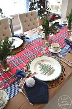 Blue Christmas Decor, Tartan Christmas, Gold Christmas Decorations, Spode Christmas Tree, Christmas Tablescapes, Plaid Christmas, Christmas Home, Christmas Morning, Merry Christmas