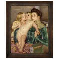 """Astoria Grand 'The Caress 1902' by Mary Cassatt Framed Oil Painting Print on Canvas Size: 16.75"""" H x 13.75"""" W, Format: Bronze Frame"""