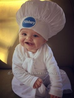 I knew as soon as I saw the Pillsbury Doughboy that my son would be a PERFECT replica. I made the costume with a white pillowcase, white pants/shirt a...