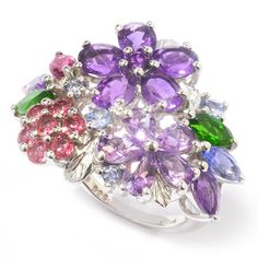 Genuine Multi-Gemstone Flower Ring with 92.5 Sterling Silver Filled Band