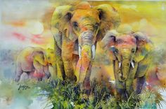 """Elephant Family"" - Watercolor painting  My favorite souls on this planet hands down!"