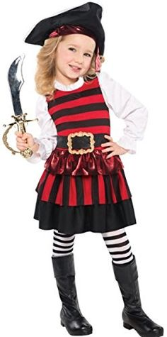 Pirate Girl + Hat Kids Fancy Dress Pirates Halloween Book Child Costume Outfit Ages 3-4 Years