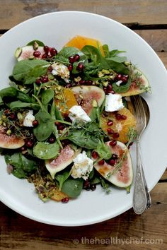 Beauty Boosting Vitality Salad w/ Figs + Pomegranate : The Healthy Chef – Teresa Cutter