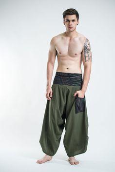Men's Thai Button Up Cotton Pants with Hill Tribe Trim Olive – Harem Pants