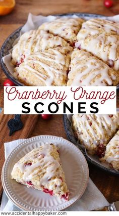 Tender Cranberry Orange Scones Are Full Of Fruity, Sweet, And Tart Cranberry Flavor And Topped With Fresh Squeezed Orange Juice Glaze. Brunch Recipes, Breakfast Recipes, Dessert Recipes, Cocktail Recipes, Breakfast Ideas, Dessert Bars, Recipes Dinner, Delicious Desserts, Yummy Food