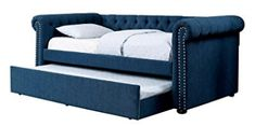FA Furnishing Barrie Nail Trim Button Tufted Twin Daybed w/Trundle - Dark Teal Fabric Daybed With Trundle Bed, Full Size Daybed, Metal Daybed, Teal Fabric, Trim Nails, Classic Sofa, Tufting Buttons, Sofa Design, Space Saving