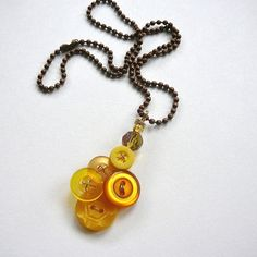 Honey Gold Yellow Vintage Button Pendant by buttonsoupjewelry, $17.50