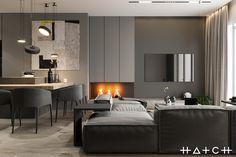 HOUSE IN LODZ,PL on Behance Bedroom Setup, Room Design Bedroom, Home Room Design, Home Interior Design, Living Room Designs, Small Apartment Interior, Small Apartment Design, Living Room Wall Units, Home Entrance Decor