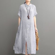 Blue openhemlinen maxi dress plus size cotton dressThis dress is made of cotton linen fabric, soft and breathy, suitable for summer, so loose dresses to make you comfortable all the time.Measurement: One Size: length 112cm / 43.68
