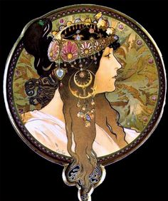 """""""La Brunette"""" (1897) ~ Alphonse Mucha ~ Click through the large version for a full-screen view (with a black background in Firefox). Set your computer for full-screen. ~ Miks' Pics """"Alphonse Mucha"""" board @ http://www.pinterest.com/msmgish/alphonse-mucha/"""
