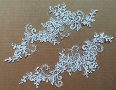 Can add beading to it...1 Pair Ivory/black/white Bridal Applique Lace Applique