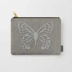 Cute Silver Grey Butterfly Carry-All Pouch