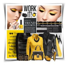 """Work It!"" by diva1023 ❤ liked on Polyvore featuring Jitrois, Versace, Doublju, Miu Miu, Angela Cummings, MAC Cosmetics, women's clothing, women, female and woman"