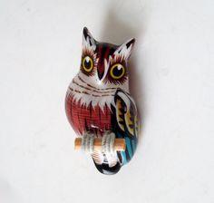Vintage Owl Brooch 1970s Reproduction Takahashi Bird Pin
