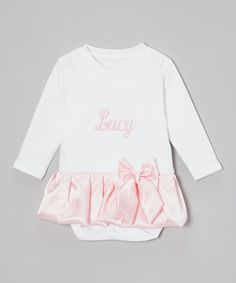 Loving this Caught Ya Lookin' White & Pink Satin Personalized Skirted Bodysuit - Infant on #zulily! #zulilyfinds