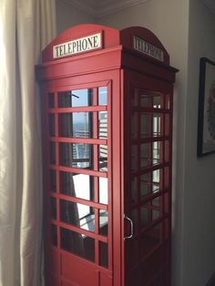 A custom order telephone booth made for a bar room Telephone Booth, China Cabinet, Bar, Canning, Storage, Room, How To Make, Furniture, Home Decor