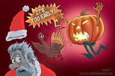 A Halloween Jack O Lantern Chases away a Thanksgiving Turkey and A Christmas Sanata.