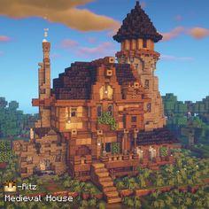 Casa Medieval Minecraft, Minecraft House Plans, Minecraft Mansion, Minecraft Cottage, Minecraft Castle, Minecraft House Tutorials, Cute Minecraft Houses, Amazing Minecraft, Minecraft Tutorial