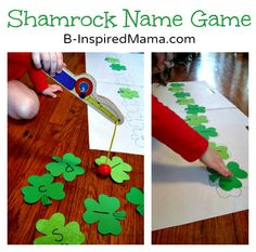 Shamrock Name Game... goin' fishin' ~ Cute.