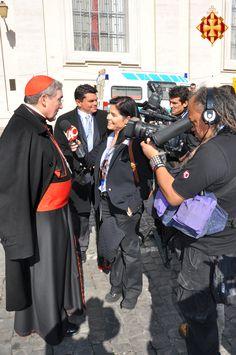 El Cardenal Sistach amb els mitjans de comunicació