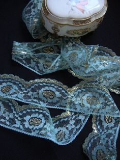 Items similar to 3 Yards of wide hand dyed beautiful shimmery rigid light green and gold lace trim for wedding invitations decor party favors ST on Etsy Wedding Handkerchief, Wedding Garter, Designer Lingerie, Gold Lace, Scalloped Lace, Color Names, Vintage Lace, Green And Gold, Etsy Store