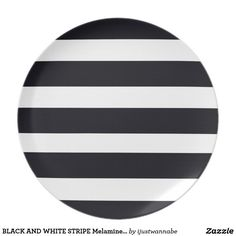 """BLACK AND WHITE STRIPE Melamine Dinner Plates. Beautiful non-breakable Melamine Dinner Plates with Classic Black and White Stripes. Dimensions 10.00"""" diameter. Wonderful for Entertaining, at home, in the Garden, by the Pool or fun Picnics. Very fast shipping Worldwide. Own this So Chic Dinner Plate with Black & White Stripes NOW! Create an Elegant Setting with a set of these fabulous Dinner plates, $27.85"""