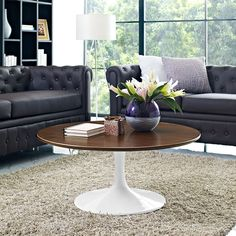 "Odyssey 36"" Round Walnut Contemporary Coffee Table 
