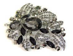 Large Black and Silver Leaves Broach