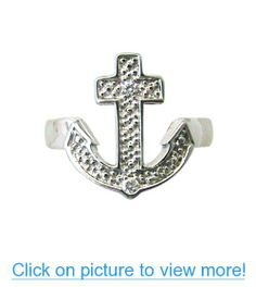 925 Sterling Silver Cross Anchor CZ Toe Ring Sterling Silver Toe Rings, Sterling Silver Cross, Anchor Rings, Anchors, Symbols, Gifts, Jewelry, Presents, Jewlery