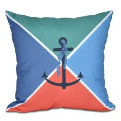 "Breakwater Bay Hancock Anchor Flag Geometric Print Throw Pillow Size: 16"" H x 16"" W, Color: Green"