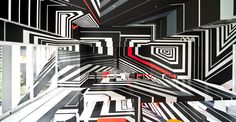 German artist Tobias Rehberger's work is all about illusion. His installations transform rooms into Op Art-inspired, immersive environments that trick the eye. Dazzle Camouflage, Camouflage Patterns, Art Optical, Optical Illusions, Perceptual Illusions, Tobias Rehberger, Festival D'art, Art Et Design, Call Art