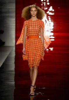 Three of my favorite things: orange, houndstooth, and cape.  It's a trifecta of awesome.  Reem Acra Spring 2014