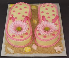 Flower flip flop cake. This is the cake she was showing me