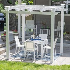 The Belham Living Harbor Bay Pergola Kit is a fantastic pergola kit at a bargain price. The size is small, at 7'6″ x 7'6″, but if that size works for your patio or garden space, this kit is a great deal, with several winning features. The Harbor Bay vinyl pergola kit is made of high quality, durable materials, and assembly is straightforward. After a good afternoon for two people, you will have twenty years or more to appreciate the design and beauty of this pergola. Outdoor Shade, Outdoor Pergola, Outdoor Decor, Vinyl Pergola, Pergola Kits, Patio Blocks, New England Arbors, Harbor Bay, Door Canopy