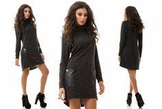 Средней длины теплое стильное платье гольф с кожанными карманами черный